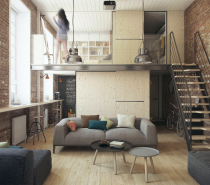 The height of the apartment lent itself perfectly to a lofted design, which really maximizes the space options. The building once housed the printing press for city's first newspaper, before it became a standard apartment and then took on this lofted design.  The bedroom, a private space, is open and bright but still entirely removed from the main living area, where the action is. The two spaces are connected by a simple and safe stairwell.