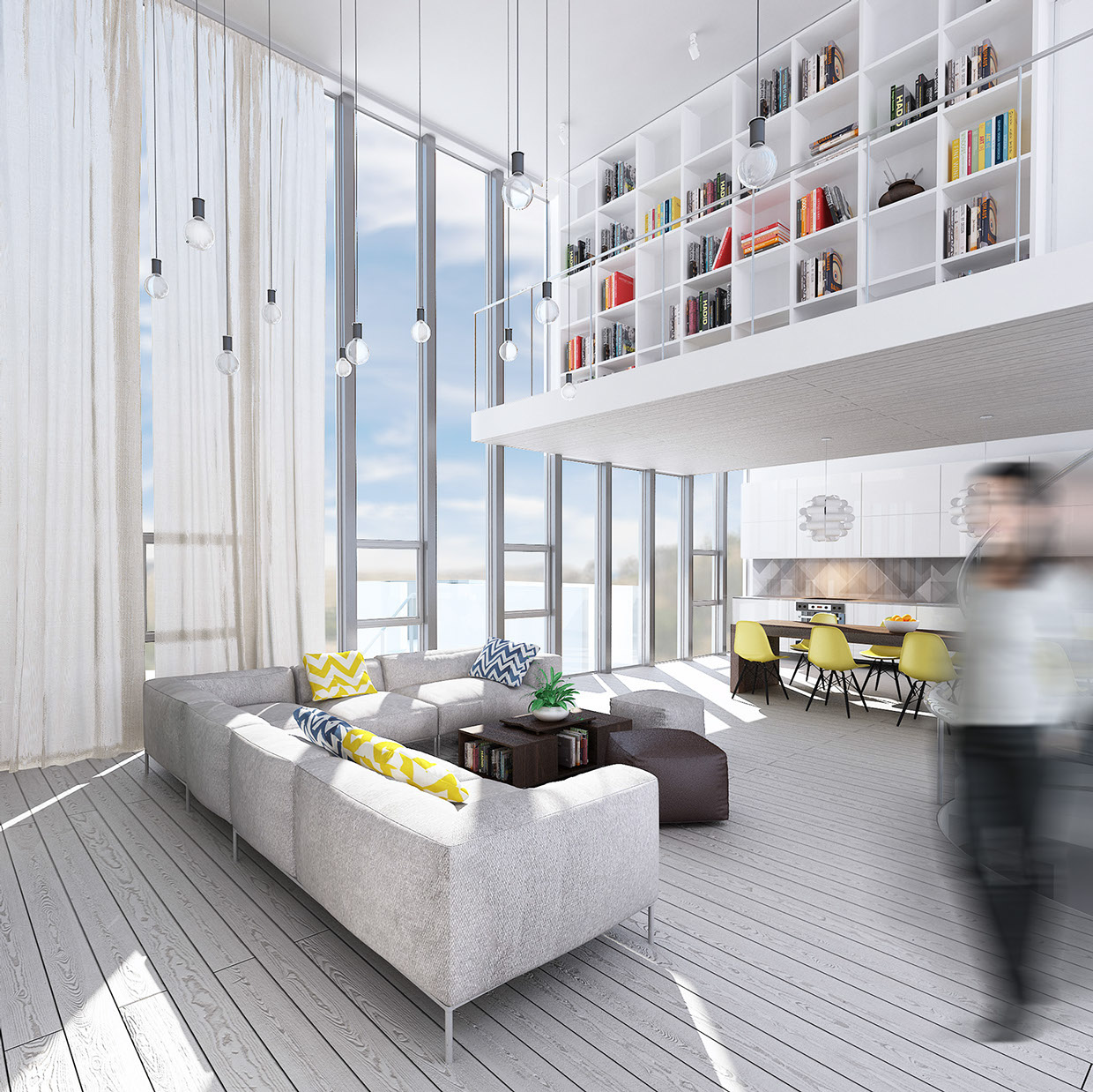 Wondrous white three lofts with clean bright interiors for Clean interior design