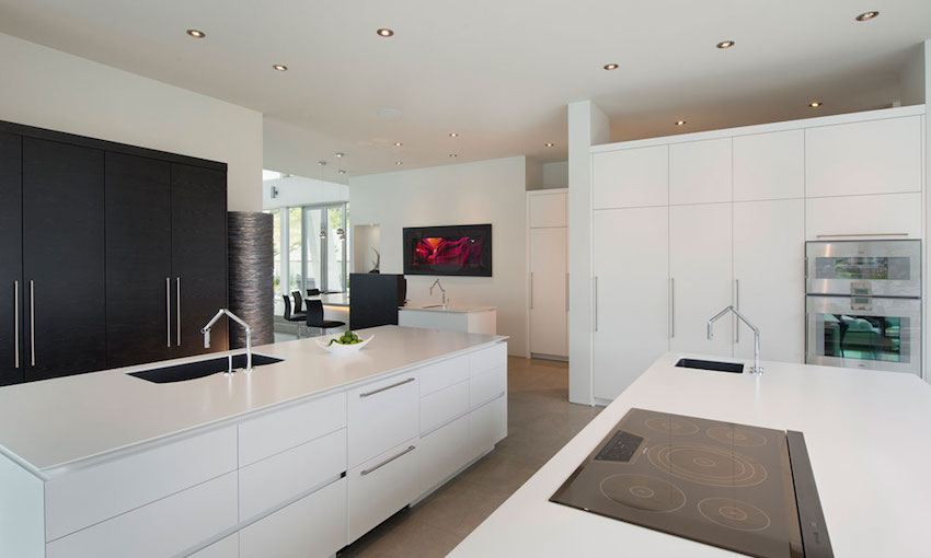 White Kitchen Interior - Ultramodern lake house with luxurious details