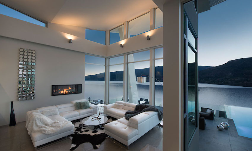 White Leather Sofa - Ultramodern lake house with luxurious details