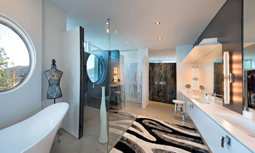 White Modern Bathroom - Ultramodern lake house with luxurious details