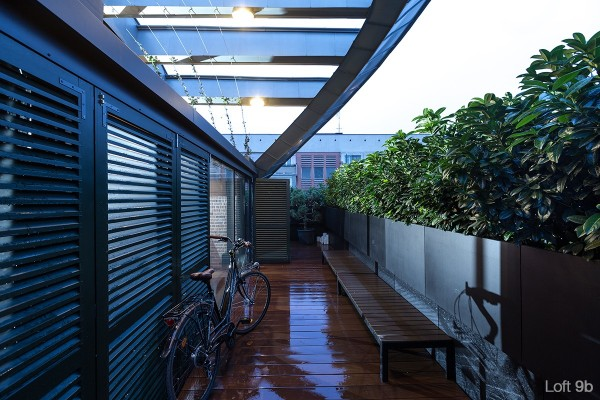 Finally, a narrow outdoor deck serves as a bit of outdoor storage as well as a relaxing place to enjoy a coffee or two.
