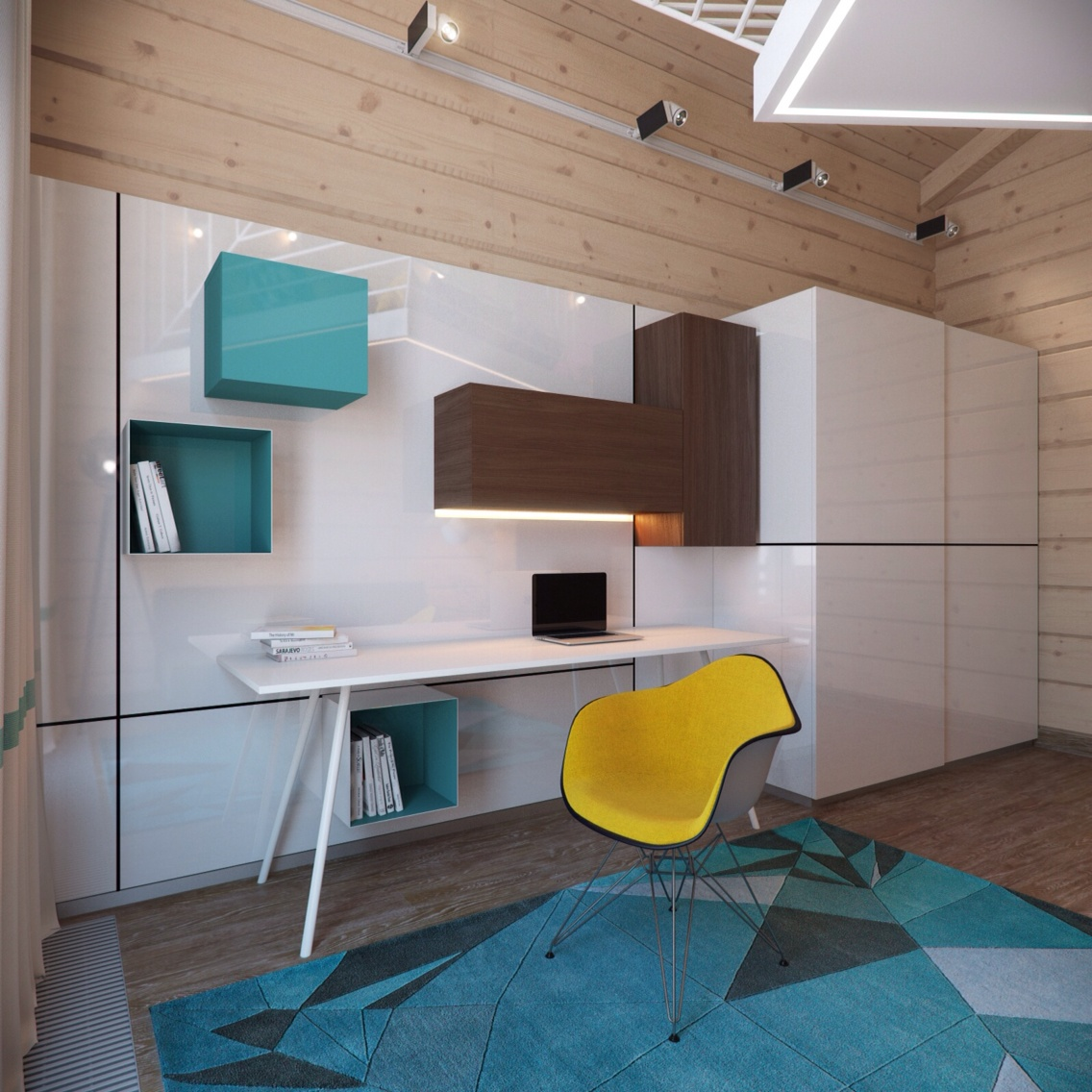 Yellow Eames Chair - 3 creative top floor rooms with wood accents