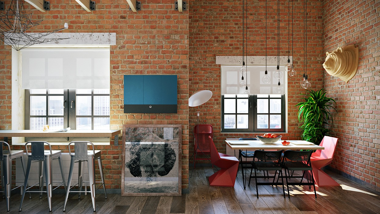 Aluminum Bar Chairs - 3 stylish industrial inspired loft interiors