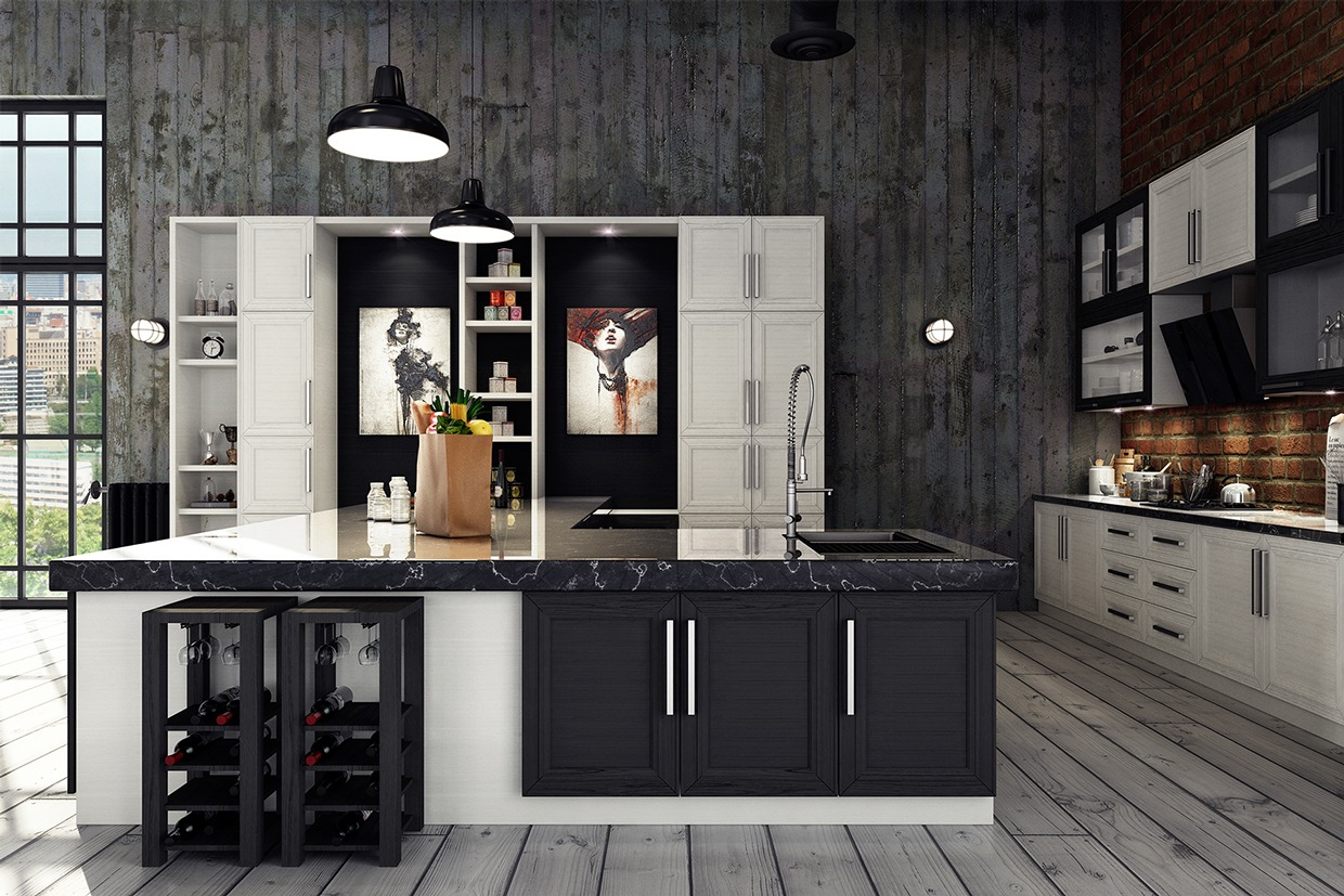 Black Cabinets - 3 stylish industrial inspired loft interiors