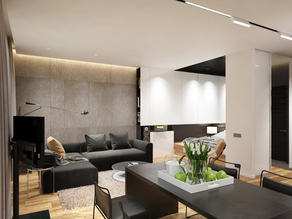 apartment designs for a small family, young couple and a bachelor, Innenarchitektur ideen