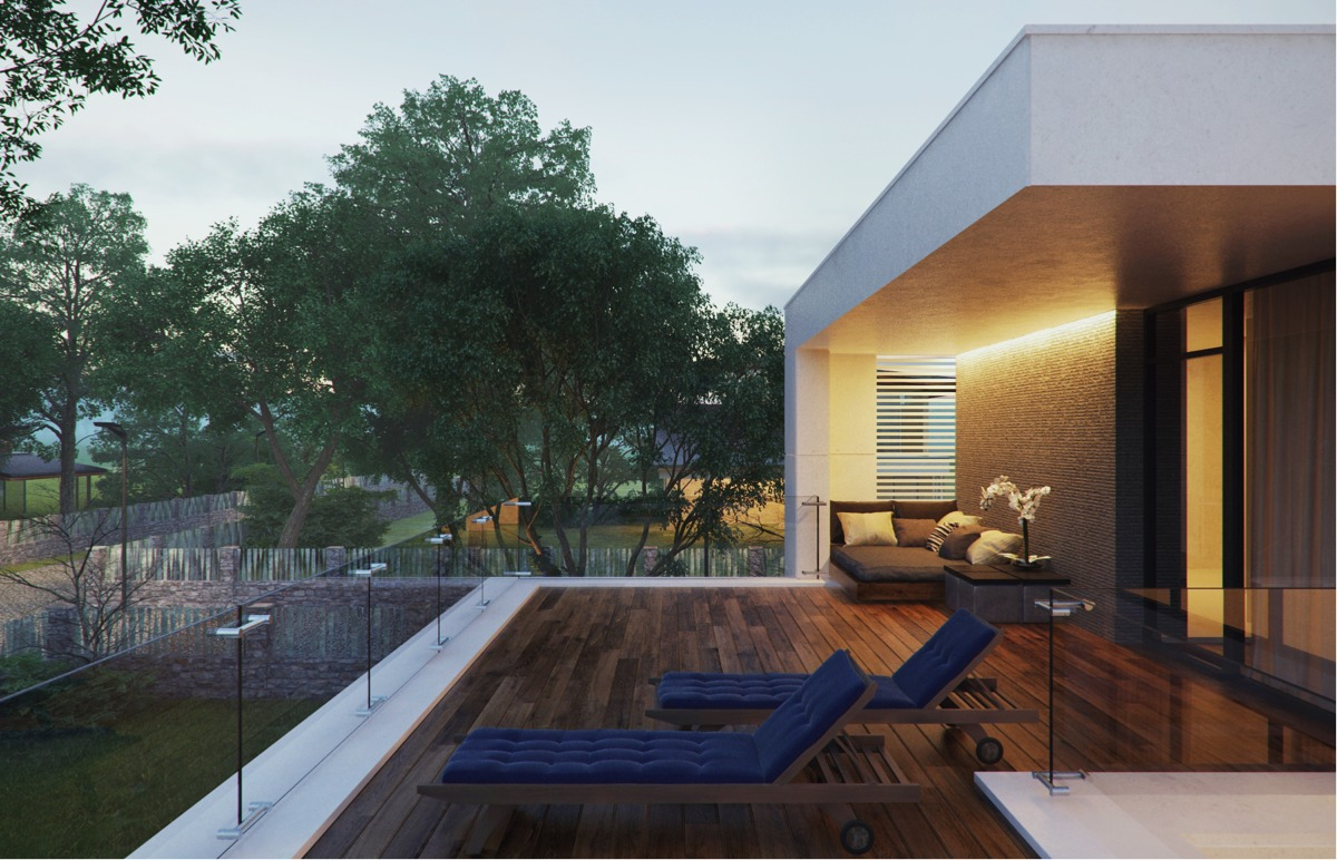 Blue Chaise Lounge - Modern home exteriors with stunning outdoor spaces