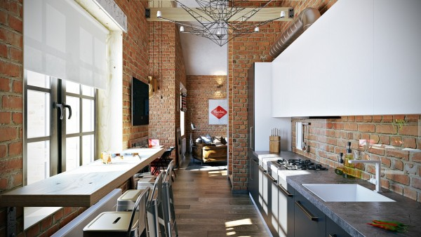 Exposed wood beams and beautiful hardwood floors complete the warm look, which also includes some fun elements like cardboard cutout mounted heads and graphic heavy wall art.