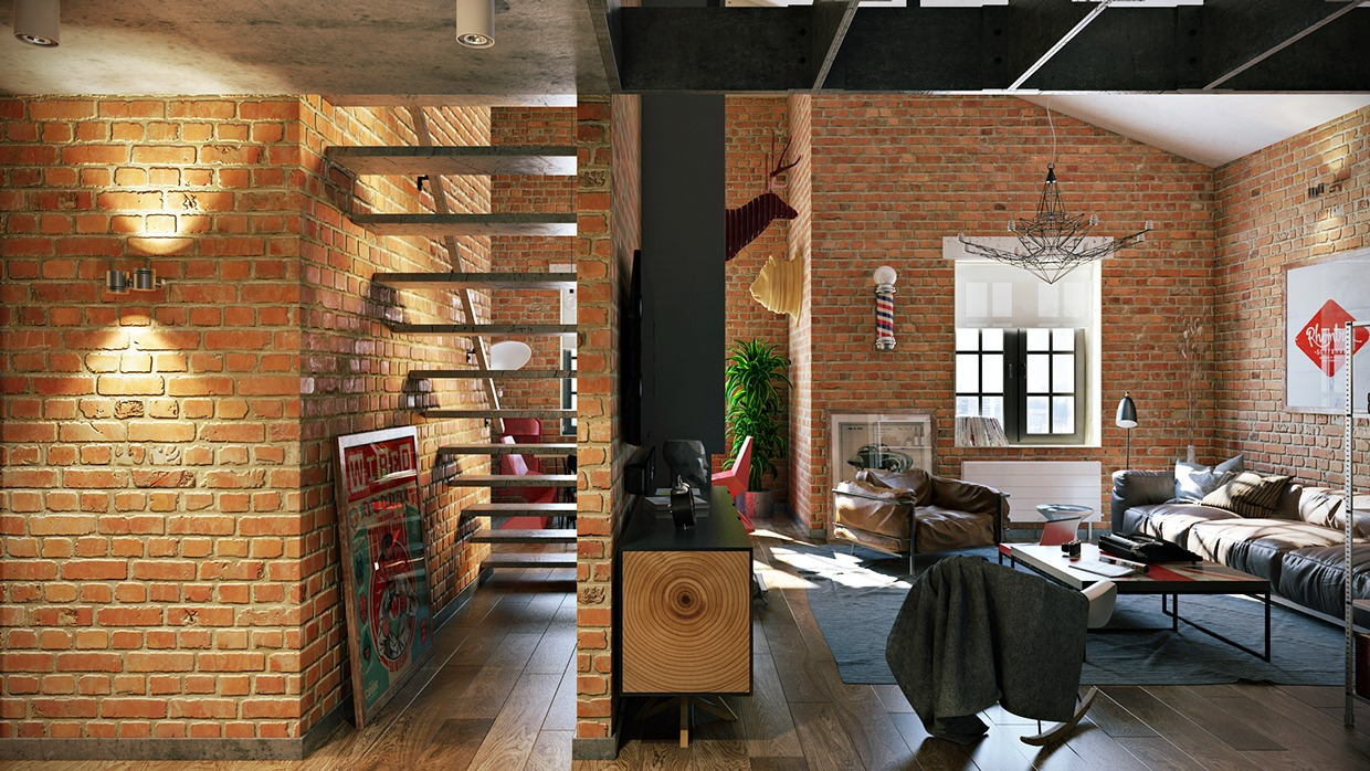 3 stylish industrial inspired loft interiors - Cocinas de ladrillo rustico ...