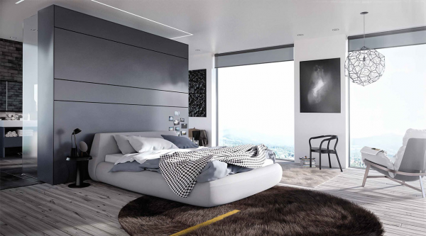 A brown shag carpet brings a retro splash to this otherwise modern bedroom option.