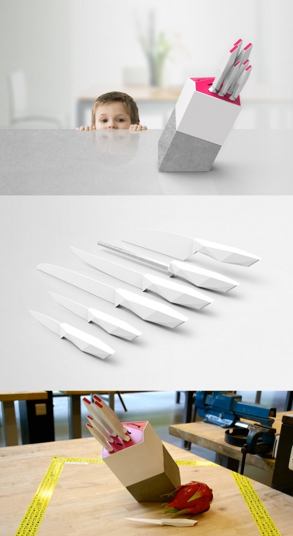These concept kitchen knives were inspired by the story of the sword in the stone. A safety lock keeps them from falling into the wrong (tiny) hands.