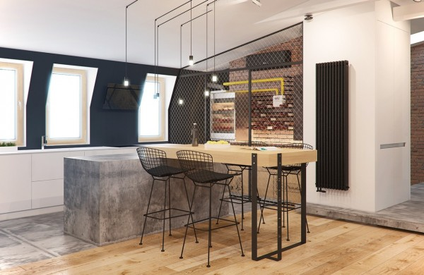 The kitchen is bright and a bit funky, with a concrete chopping block and sleek wire-backed bar chairs. Small dangling lights have a bit of that Edison bulb aesthetic without taking it over the top into hipster territory.