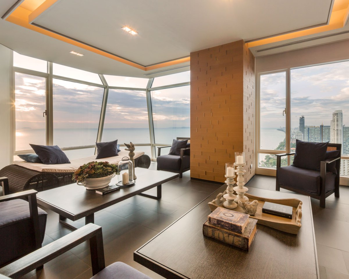 Front Room Interior Design Of Luxury Beachfront Condo Development In Pattaya