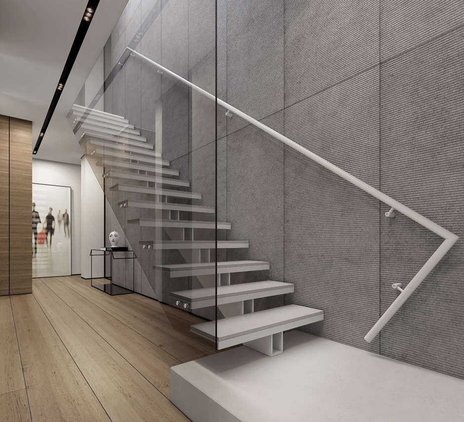 4 contemporary home visualizations with sleek sophistication - Modern stair ...