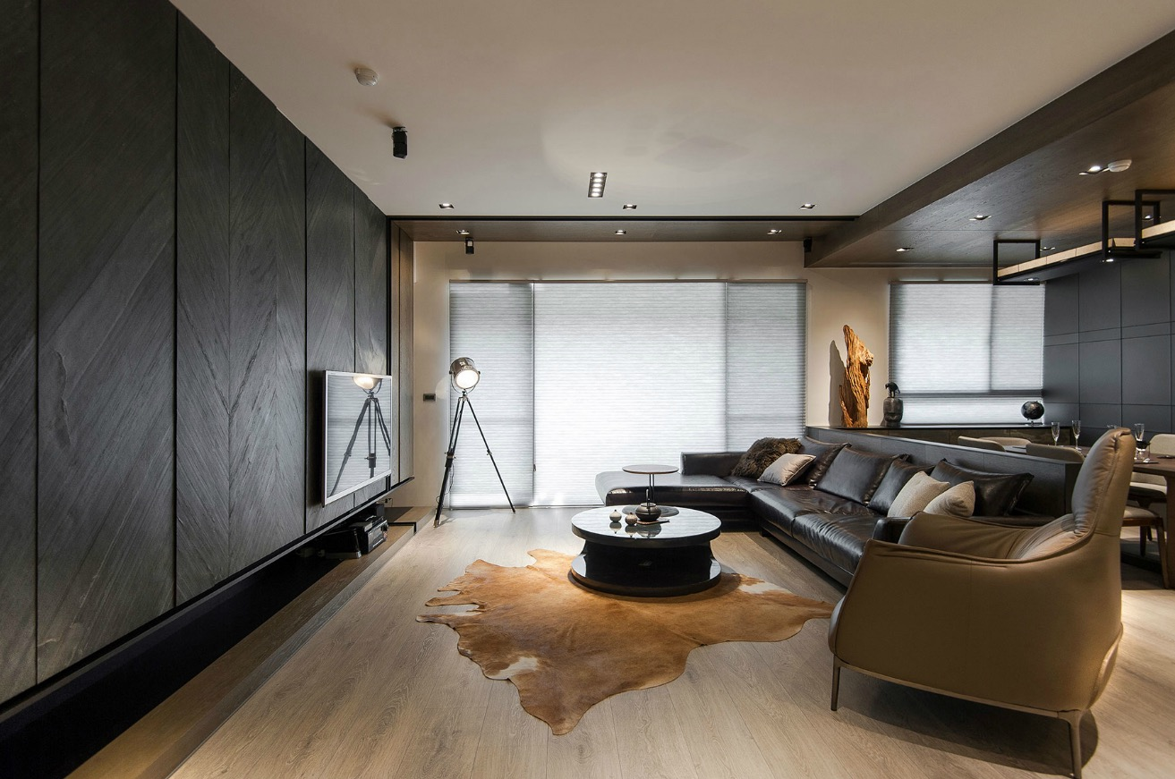 Stone and wood make a dark masculine interior for Sweet home 3d living room furniture
