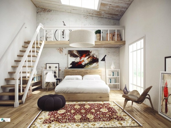 A lofted storage area and lots of wood make for a bohemian - but upscale - one room apartment.