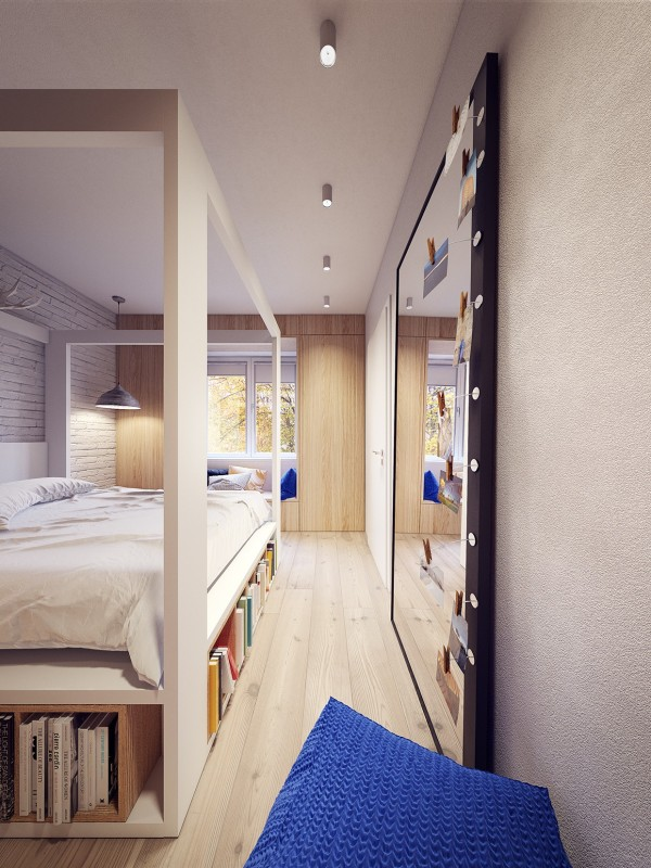The bedroom takes less inspiration from the 60s and more from park slope a custom