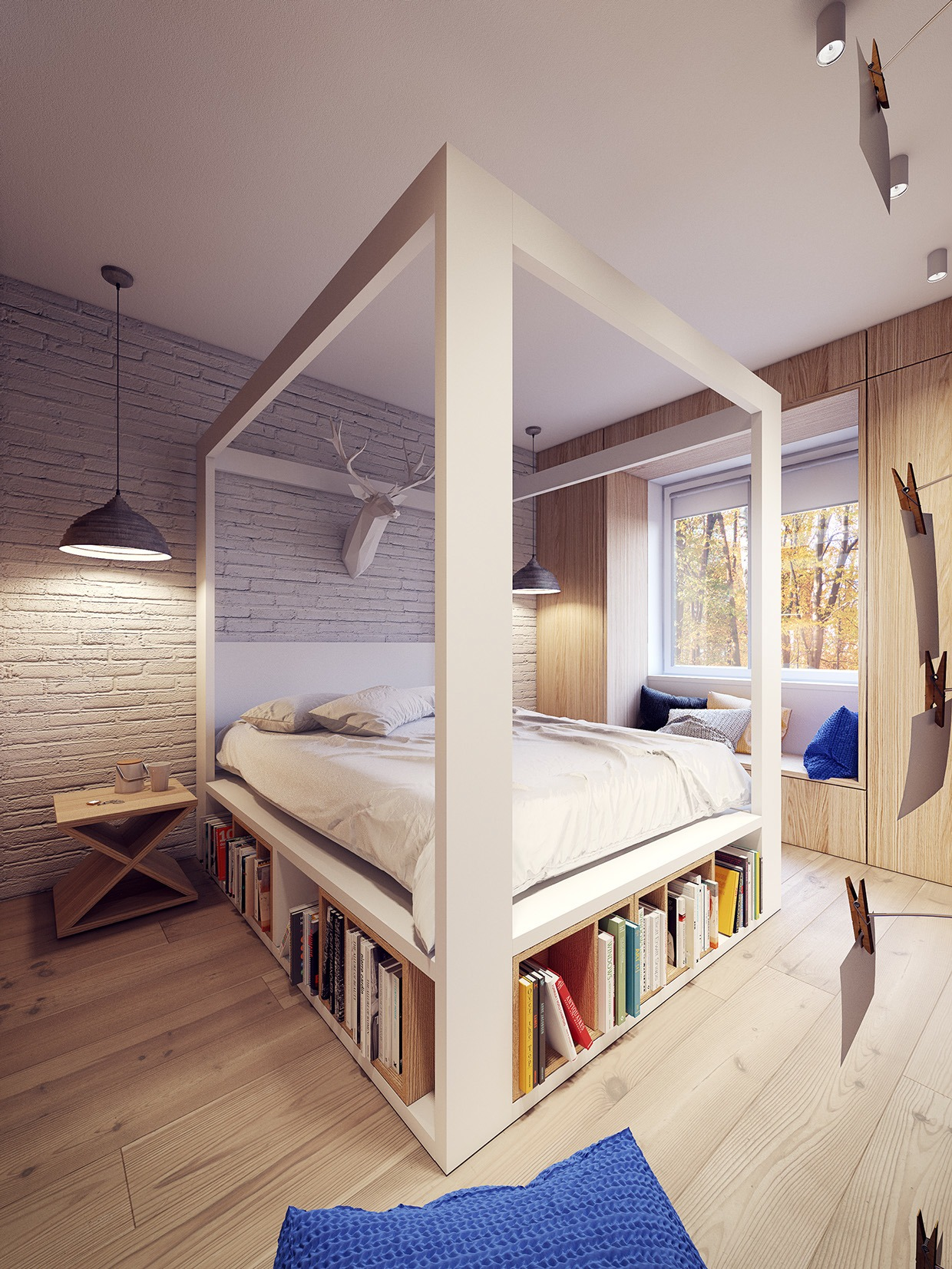 A 60s inspired apartment with a creative layout and upbeat for Bedroom designs with four poster beds