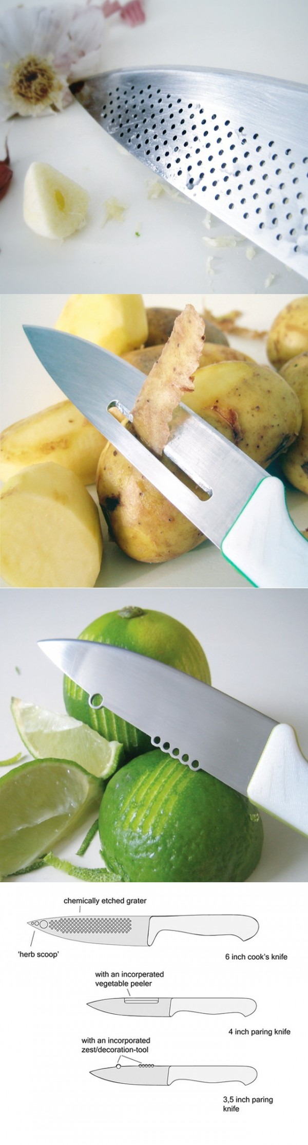 The idea behind these amazing concept knives is that a great knife should be able to do more than slice and chop.