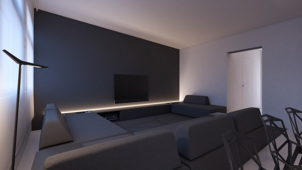 Minimalist inspirations from oporski architektura Grey accent wall in living room