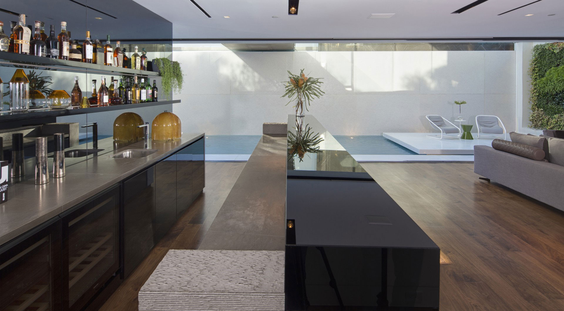 Home Bar Design Ideas - A dramatic glass home overlooking the l a basin