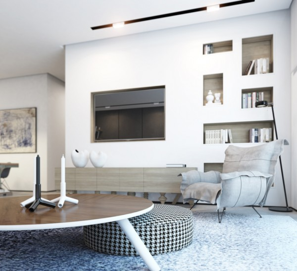 The next featured space is a 2014 penthouse duplex, successfully built by Gindi holdings with an interior from an Ando Studio team. The light from the upper level vantage point streams in from floor-to-ceiling windows while a dominating white creates an even more open feeling. Simple splashes of personality, like a houndstooth ottoman and purple solair chair give the otherwise sophisticated space just a breath of whimsy.