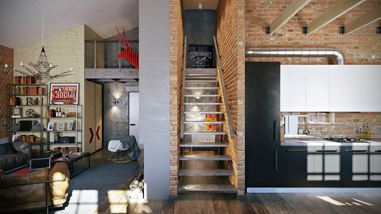 3 stylish industrial inspired loft interiors for Interior decorating themes
