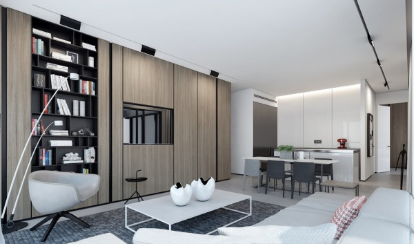 In this next luxury apartment, both visualization and interior design was done by Ando Studio for a private investor. It is easy to see the studio's capabilities with a neutral palette here as well. There is not as much floor space available in this upper level home, but simple colors and furnishings let it continue to feel open. In the small bedroom, different textures, from smooth wood paneling to a soft carpet and cushy bedding are welcoming but not too busy because of the subdued tones.