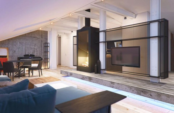 The television is hung from a custom mesh surface that separates the living room from the rest of the home but also lets light and air pass through. Next to that is a contemporary fireplace that is almost a modern spin on an old coal burning stove.