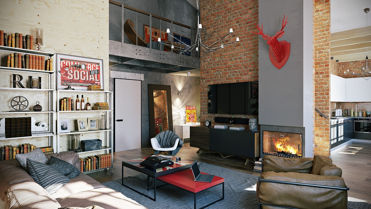 3 stylish industrial inspired loft interiors. Black Bedroom Furniture Sets. Home Design Ideas