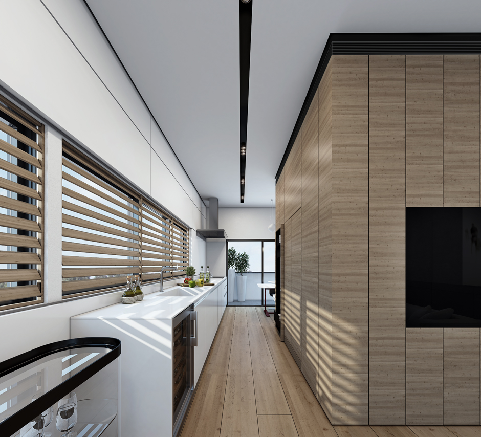 Contemporary Wood Paneling For Walls : Contemporary home visualizations with sleek sophistication