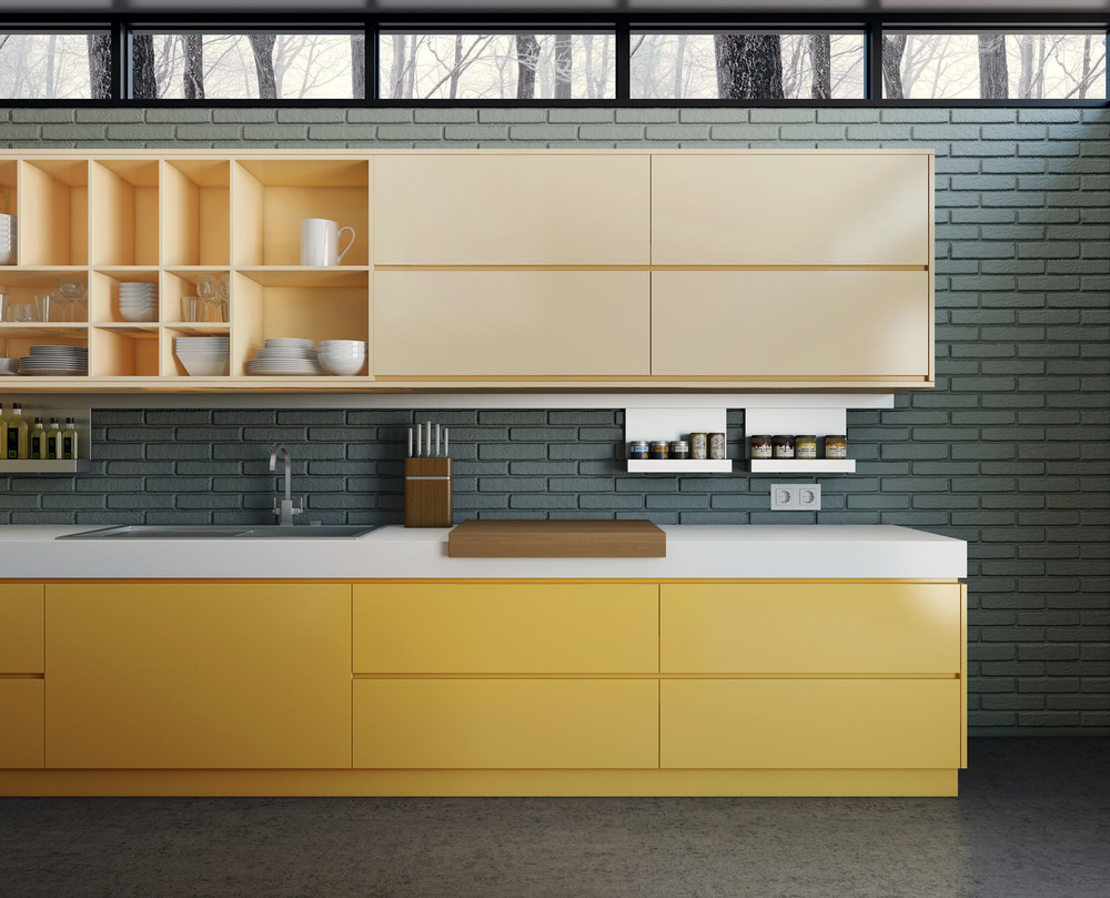 10 modern kitchens that any home chef would envy for Modern yellow kitchen cabinets