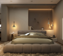 The tones in this bedroom are warm and welcoming, making it easy to fall asleep fast but perhaps not as easy to leave the bed in the morning.