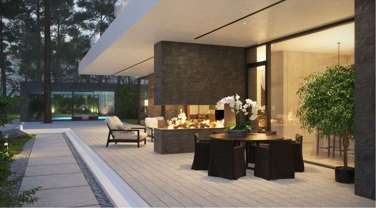 Outdoor Fireplace - Modern home exteriors with stunning outdoor spaces