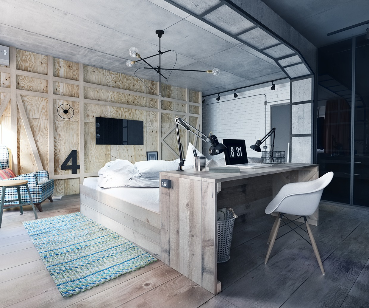 Palet Bed - 3 stylish industrial inspired loft interiors