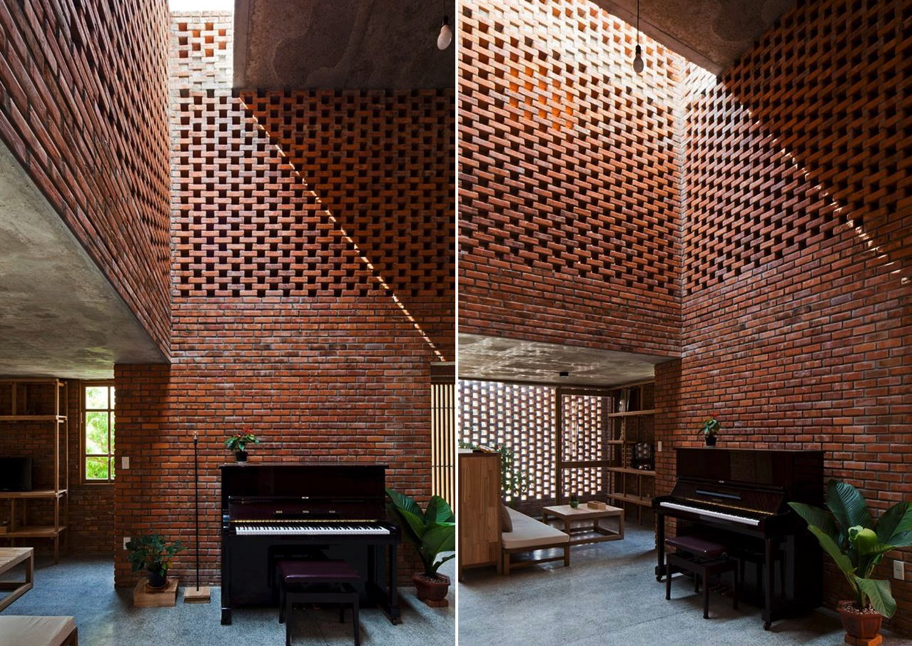 A creative brick house controls the interior climate and for Amazing interior house designs