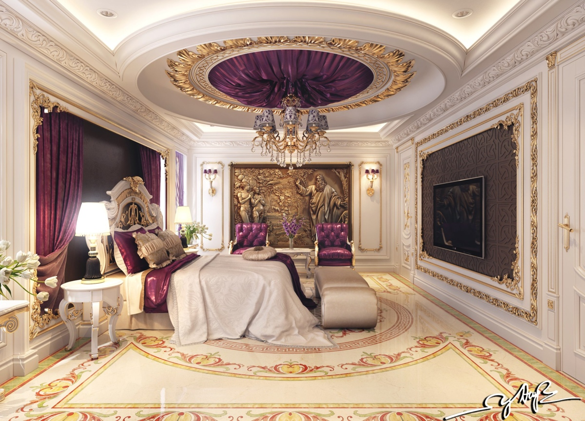 Royal bedroom interior design ideas Royal purple master bedroom