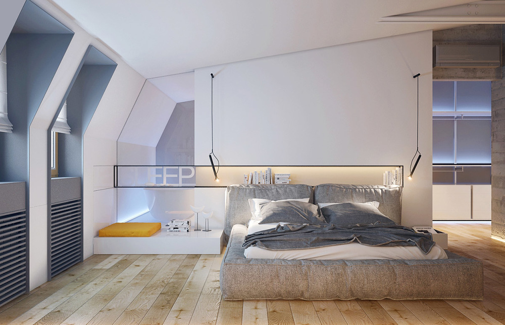 bedroom flat in kiev with sleek contemporary features includes