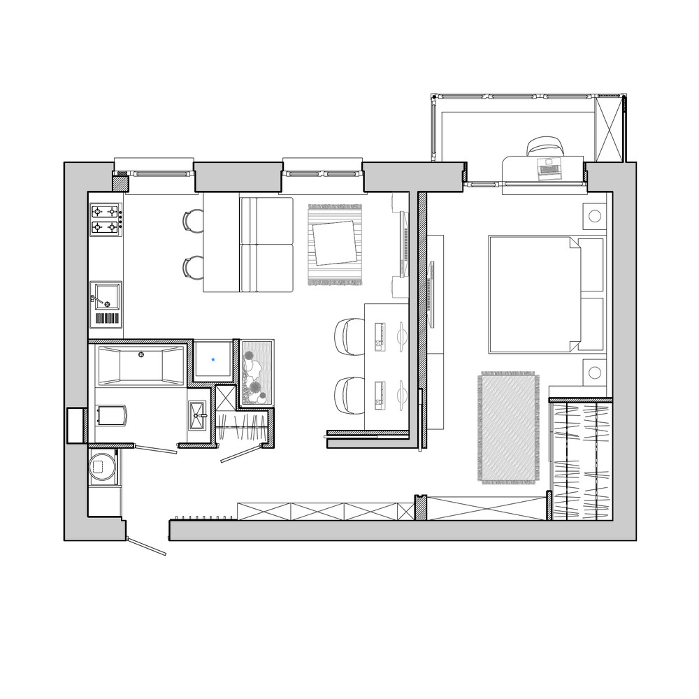 Apartment designs for a small family young couple and a for 55m2 apartment design