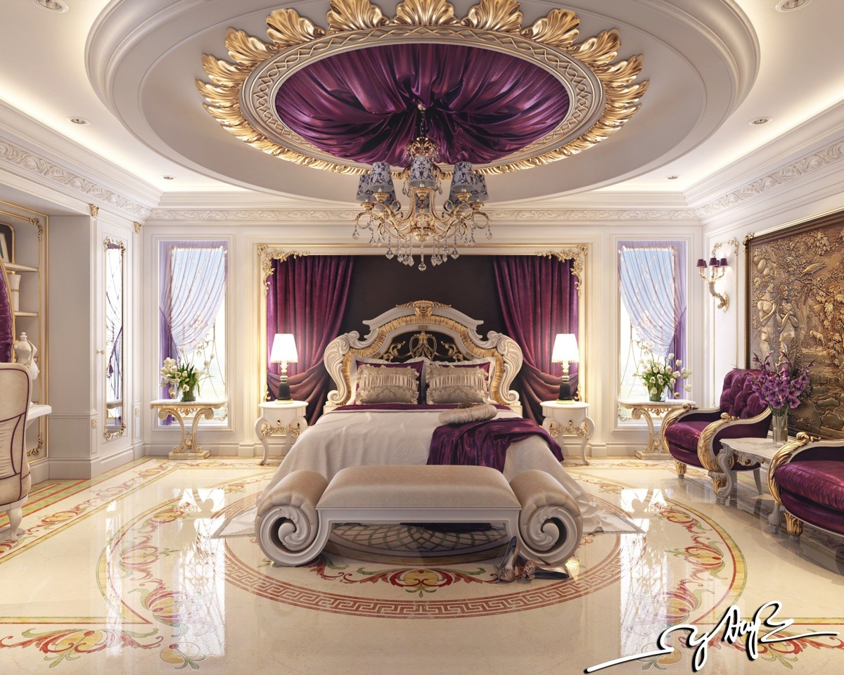 8 luxury bedrooms in detail Purple and gold bedrooms
