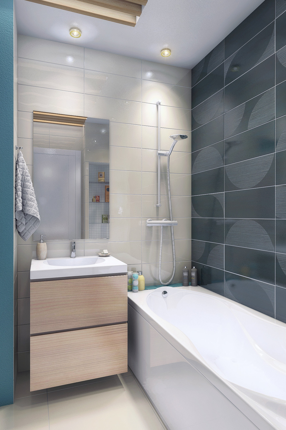 Apartment designs for a small family young couple and a for Baignoire pour petite salle de bain