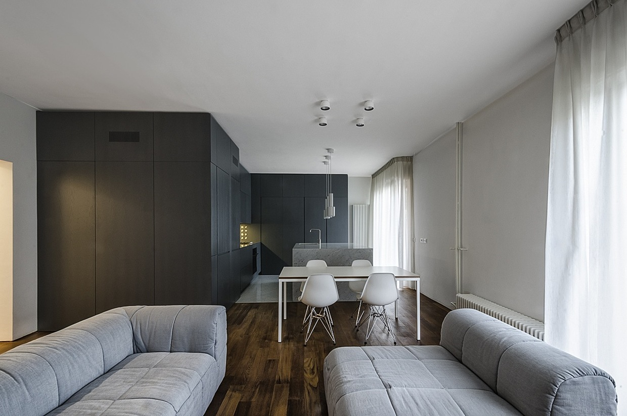 White Ceiling And Walls - Italian apartment renovation brings open space to 1960s home
