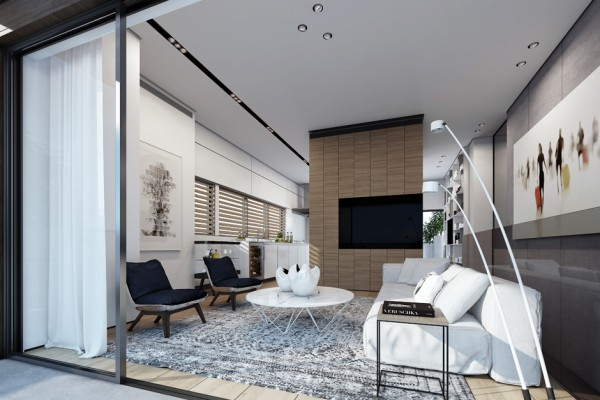 The first house featured is a two-story duplex apartment. The visualization was created to generate interest in the home for sale by showing the potential of the space with simple yet stylish elements that could appeal to a wide variety of people. A neutral palette in black, white, gray, and bare wood creates calmness while also acting as a blank slate for the imagination of potential buyers.