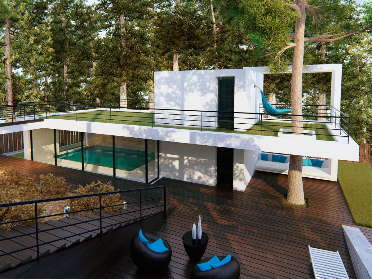 White Modern Home Exterior - Modern home exteriors with stunning outdoor spaces