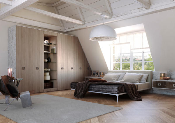 Exposed ceiling beams and a pitched ceiling makes you feel like you're sleeping in an ultrastylish loft.