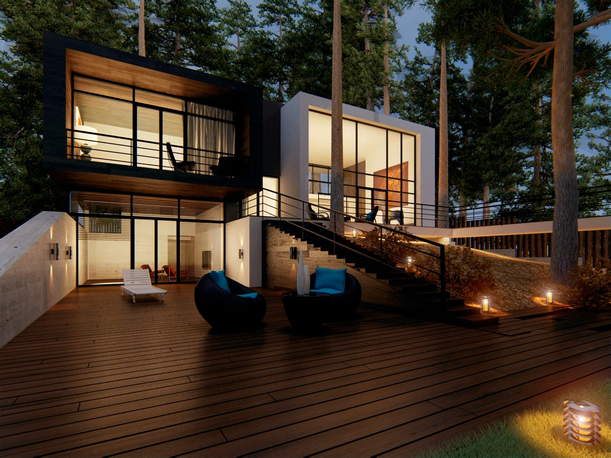 Modern home exteriors with stunning outdoor spaces for Decoration terrasse exterieur