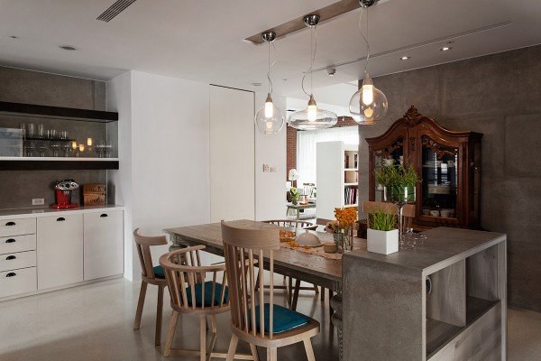 contemporary light fixtures in rustic dining room