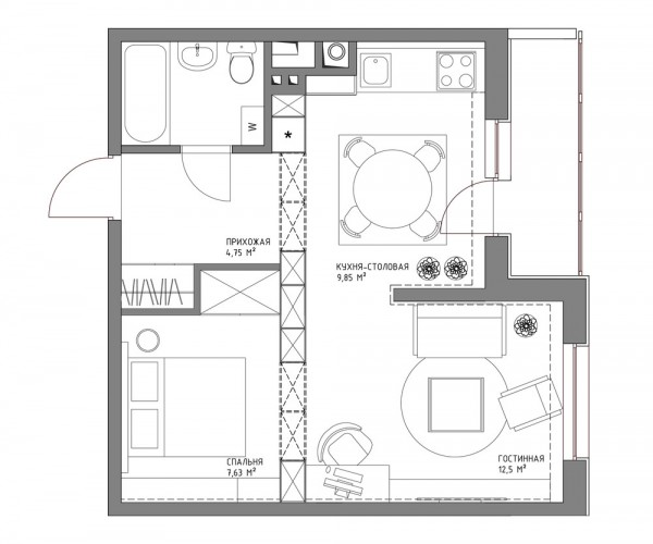 3 Distinctly Themed Apartments Under 800 Square Feet With Floor Plans: Living Small With Style: 2 Beautiful Small Apartment Plans Under 500 Square Feet (50 Square Meters