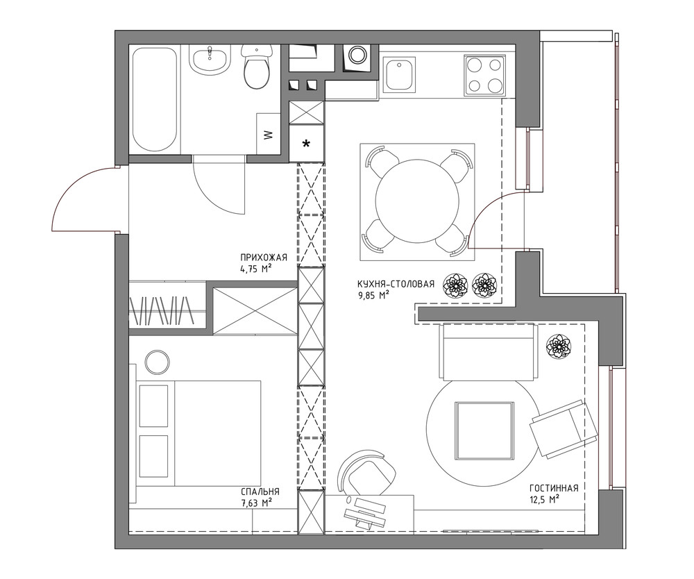 Living small with style 2 beautiful small apartment plans for Apartment design layout