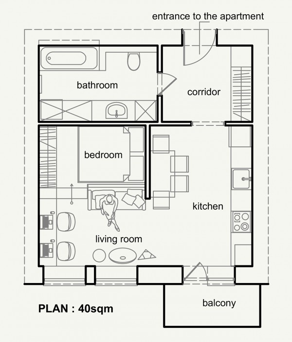 Living small with style 2 beautiful small apartment plans 400 square feet to square meters